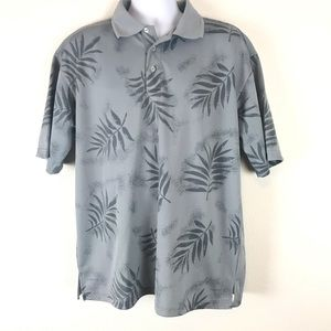 Diamond Head Polo Shirt Tropical Palm Print L Grey